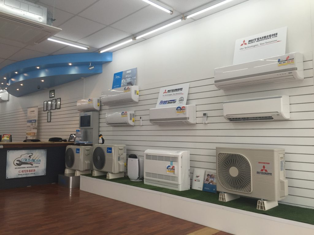 Cold Bear Air Conditioning display showroom